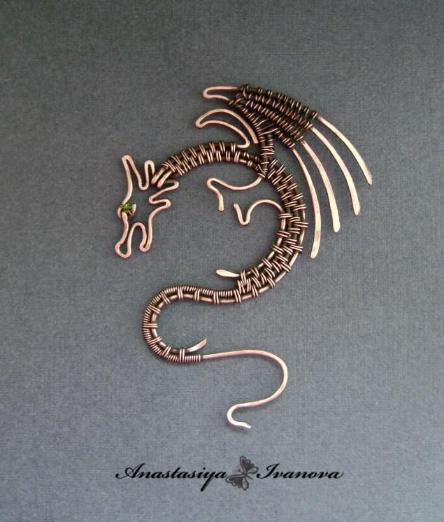 Wire wrapped dragon in copper. So much love for this.