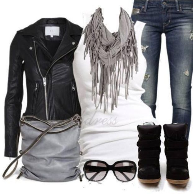 Have the jacket, and the shoes, the scarf in white and jeans like that....now I need that bag!!