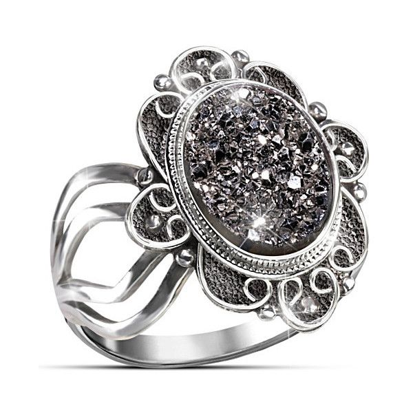 Victorian Inspired Mystical Beauty Black Agate Druzy Sterling Silver... (€88) ❤ liked on Polyvore featuring jewelry, rings, sterling silver jewelry, gothic rings, black agate ring, victorian ring i vintage jewelry