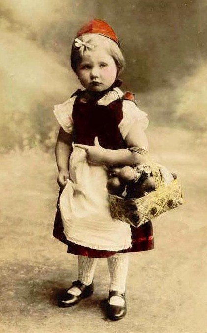 photo, child, girl, front, holding basket, little red riding hood, fairy tale.