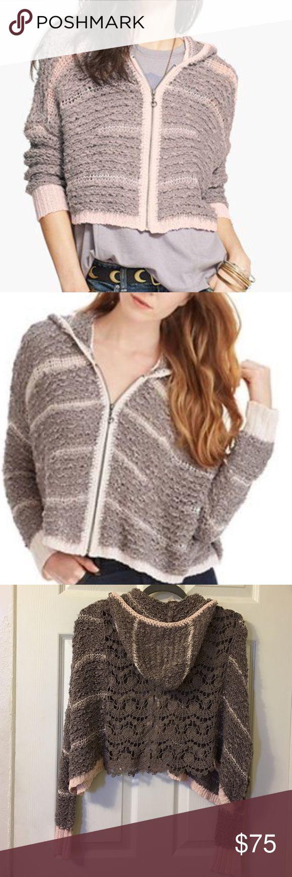 Free People Cecilia Crochet Hoodie In Like new condition. Very cute Free People Crochet back, knit zip up hoodie. Free People Sweaters Cardigans