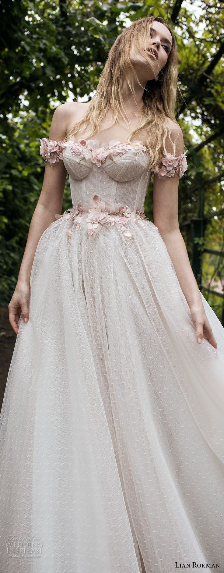 lian rokman 2018 bridal off the shoulder sweetheart neckline heavily embellished bodice bustier romantic princess pink ball gown a line wedding dress open v back sweep train (1) lv -- Lian Rokman 2018 Wedding Dresses #bridal #pink