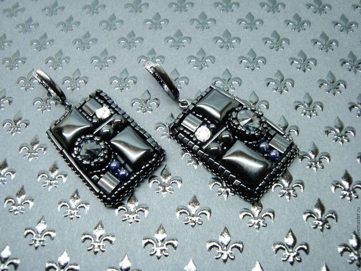 Купить Черные прямоугольные серьги с камнями Звезда Надежды - черные серьги, черные серьги купить