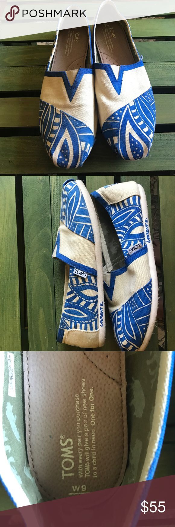 Haiti hand painted Toms Beautiful hand painted Toms from the island of Labadee in Haiti. One of a kind, unique and colorful with a paisley island print. Worn once, very light wear on soles which is mostly discoloration. Size 9W Toms Shoes