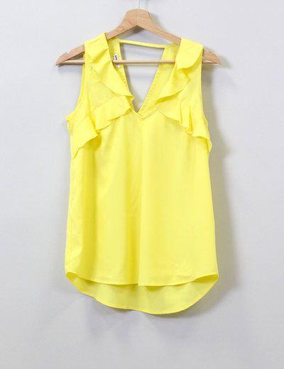 Camiseta amarilla sin mangas  Suiteblanco