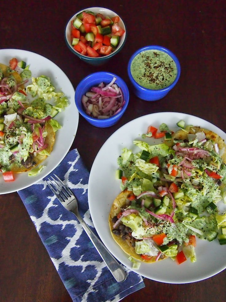 Tostadas, Cilantro sauce and Black beans on Pinterest