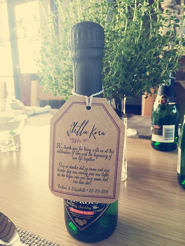 Gift idea for a beautiful modern rustic wedding held at Durbanville Hills