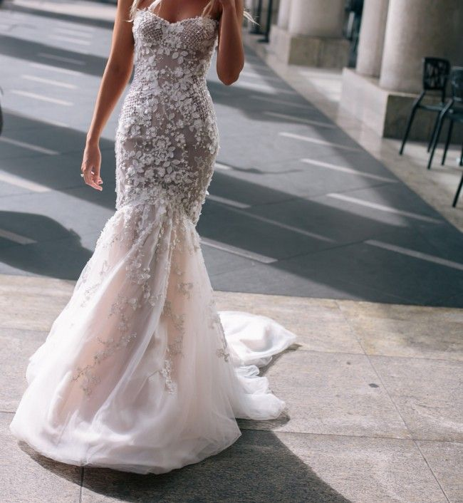 Custom made Steven Khalil Haute Couture gown, worn once on 23rd August 2014.This dress is a strapless, fully boned nude corset which includes 3D la...