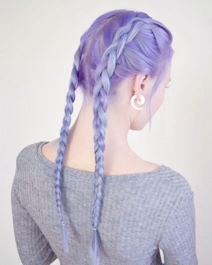 Credits to: sandy_luna_ / purple hair boxerbraids …