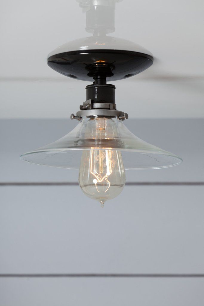 Flat Glass Shade Light   Industrial Ceiling Mount Lamp   Semi Flush Mount