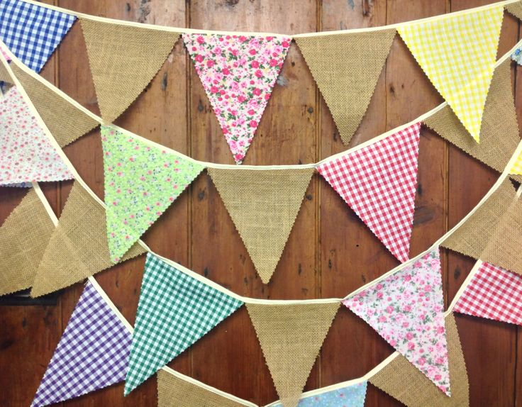 Rustic burlap hessian wedding bunting with floral and gingham flags 17 ft 29 flags on oatmeal tape ideal shabby chic barn venue decoration by Spoonangels on Etsy