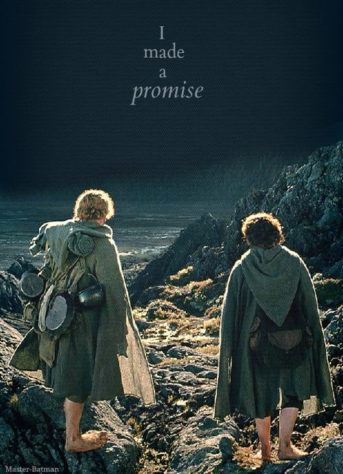 A promise Mr. Frodo. Don't you leave him Samwise Gamgee.  And I don't mean to.  I don't mean to.