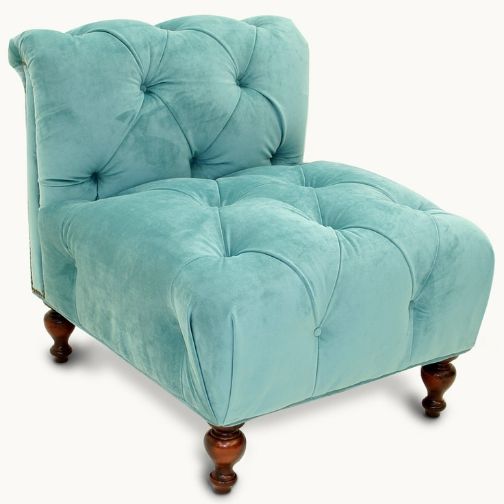 tufted aqua velvet chair