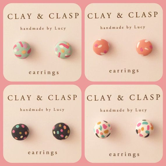 Confetti earrings  beautiful handmade polymer clay by ClayandClasp