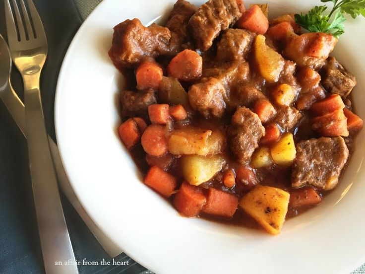 Simple ingredients and easy to follow recipe for beef stew.