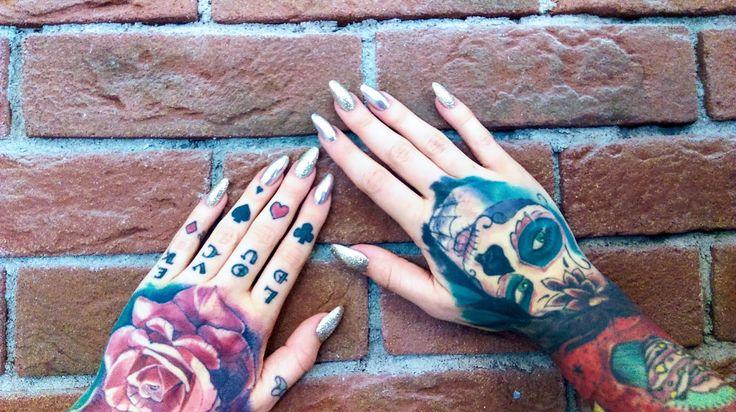 Hand tattoos , tattoos, sugar school , rose tattoo