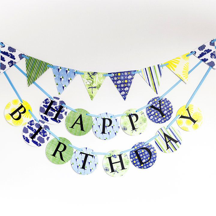 'Summer skies' blue yellow green Made for Ava birthday banner and bunting set