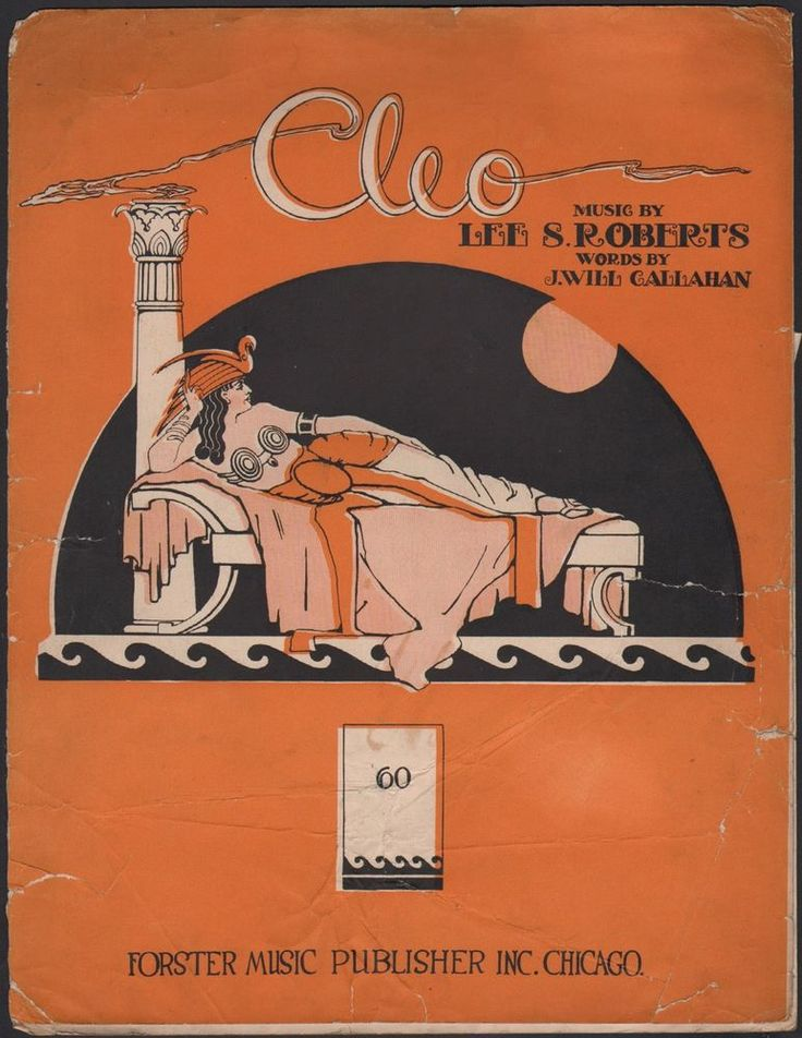 Egyptian CLEO sheet music MIDDLE-EASTERN Chicago QUEEN CLEOPATRA Art Deco 1919