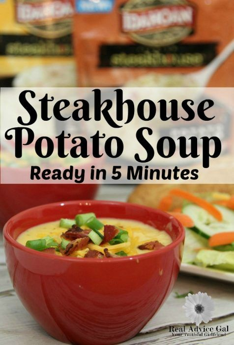 I absolutely love thick hearty chunky potato soup but I can't quite seem to make it as good as my favorite restaurants and certainly can't get it on the table quickly. Until now! Idahoan Steakhouse Potato Soup tastes like slow cooked and simmered soup but is ready in just five minutes. #IdahoanSteakhouseSoups #ad