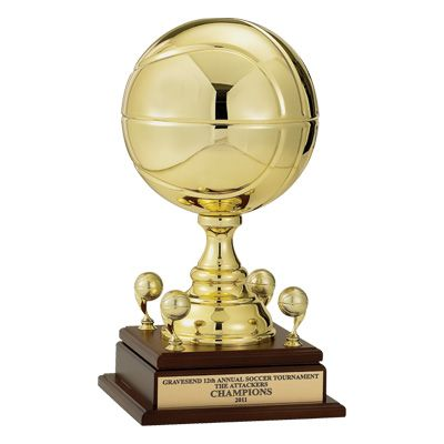 """17"""" Gold Metal Basketball Trophy with 9"""" diameter ball and trims"""