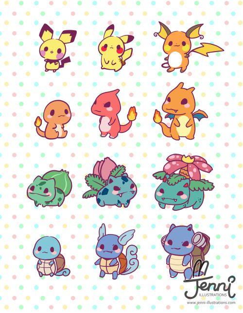 ❤ JENNI . illustrations ❤ — Kawaii starter Pokemon evolution (♡˙︶˙♡)…