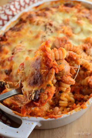 Slimming Eats Sausage and Bean Pasta Bake - gluten free, vegetarian, Slimming World and Weight Watchers friendly