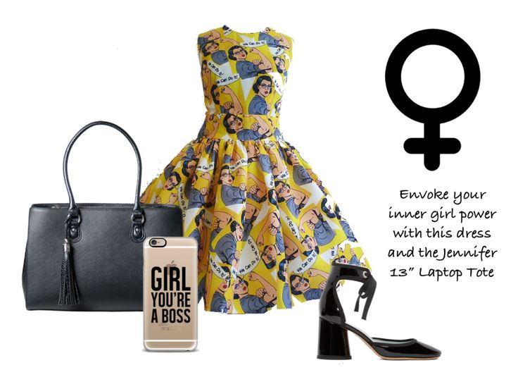 Show them who's boss with this fun dress and iPhone case. Complete the look with these Patent Leather heels and our 13 Inch Jennifer Laptop Tote for women.