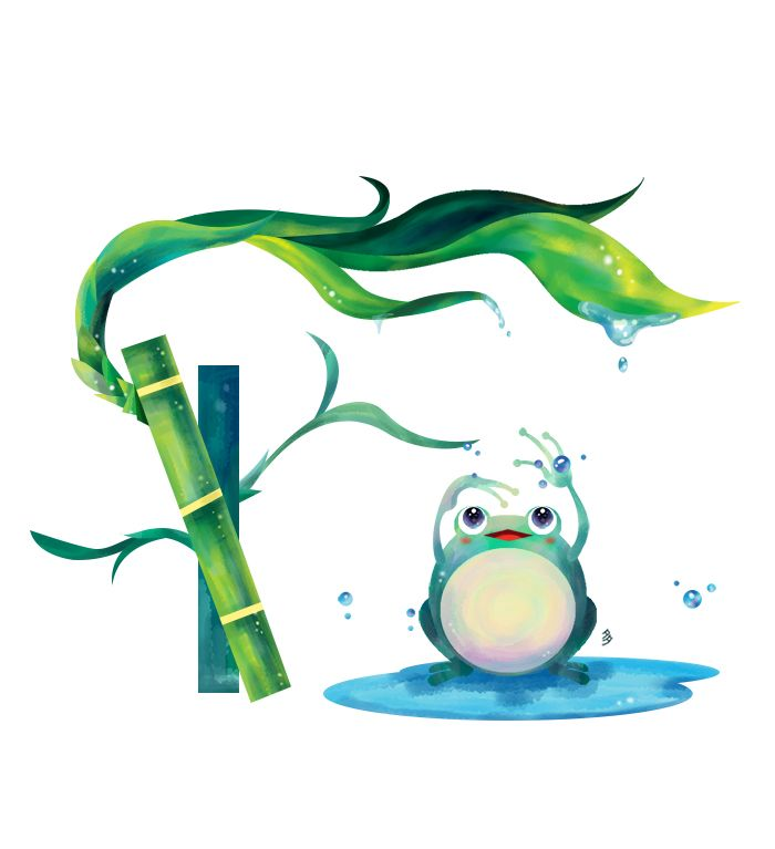 bamboo and frog