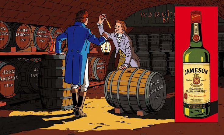 Visuel des campagnes que Ted Benoit illustrait en 2002 pour le whisky irlandais Jameson.