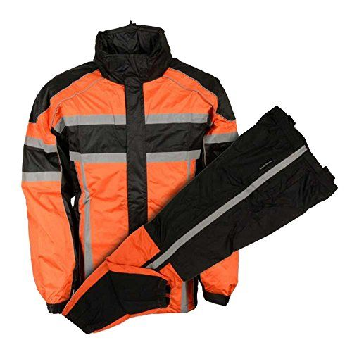 Nex Gen Men's Orange/Blk/Grey Motorcycle Rain Suit Water Resistant SH233102 (XL)