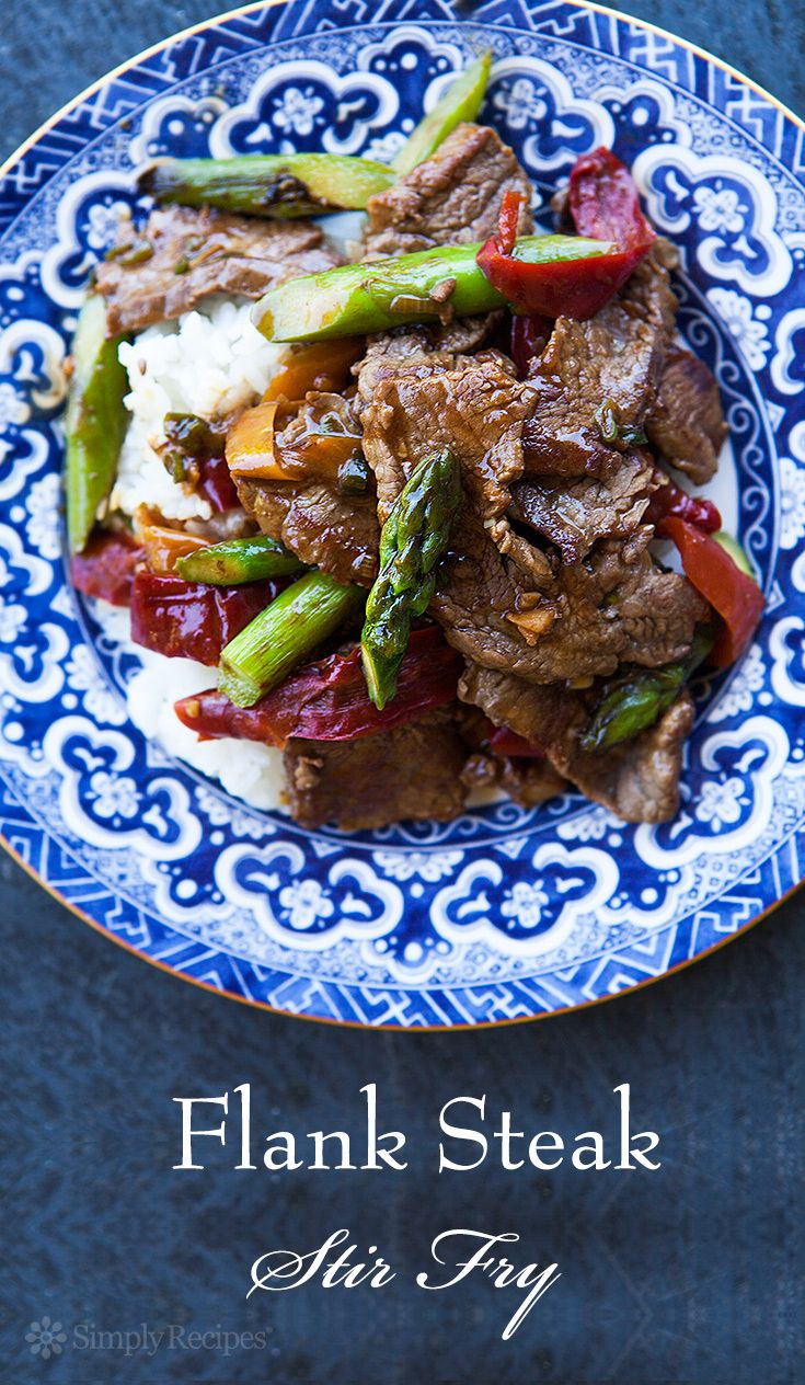 Flank Steak Stir-Fry with Asparagus and Red Pepper ~ Quick and easy stir-fry recipe with flank steak, asparagus, and red bell peppers. ~ SimplyRecipes.com