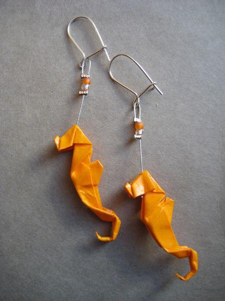 Seahorses! Boucles d'oreilles Origami Boucles d'oreilles Hippocampe orange