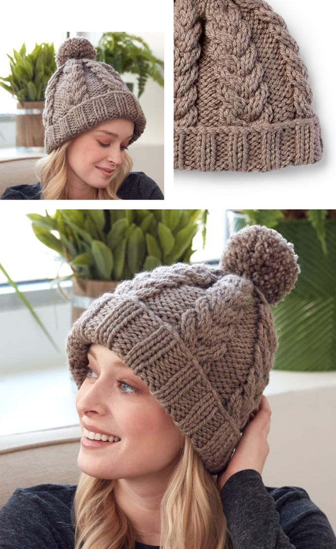 20a5591d481 Free knitting pattern for a cable hat with rib stitch edge. Intermediate  skill level knitting pattern. Warm and cozy hat to knit to get you through  the ...