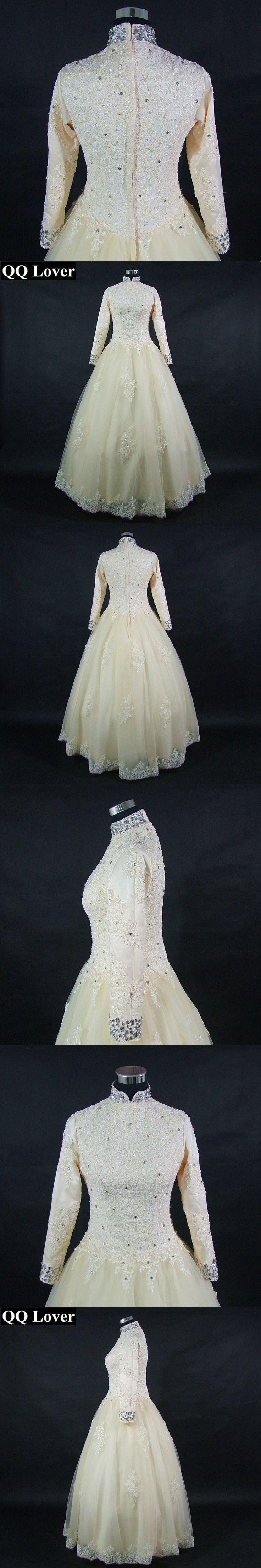 QQ Lover 2018 New Champagne Wedding Dress Long Sleeves Lace Vestido De Noiva Custom-made Plus Size Wedding Gown Bridal Dress