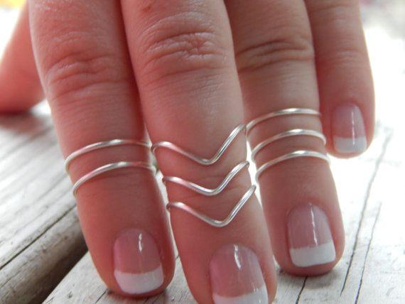 Midi Ring - Set of 8 Knuckle Rings - Sterling Silver - 14k Gold Filled - Stacking Ring Set - Rose Gold - Upper Finger - Above the knuckle