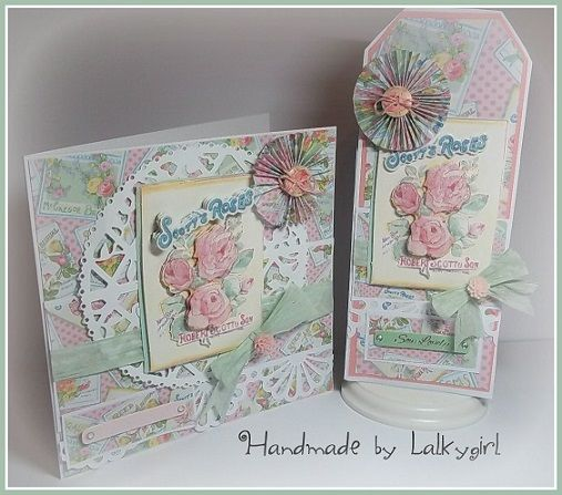 a card and bottle tag made using the trimcraft forget me not papers