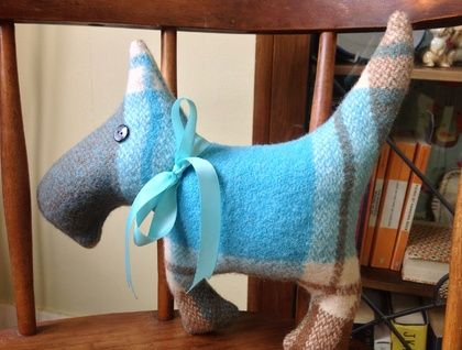Scottie+Dog+woollen+blanket+toy+upcycled