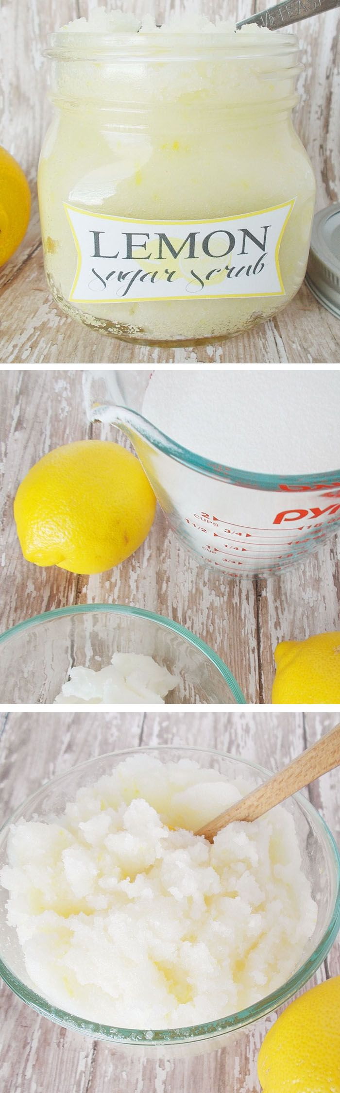 Homemade lemon sugar scrub -such a great gift idea! Makes your hands so soft!