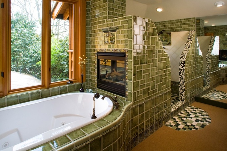 Gorgeous Craftsman Style Bathroom With Green Tiles And