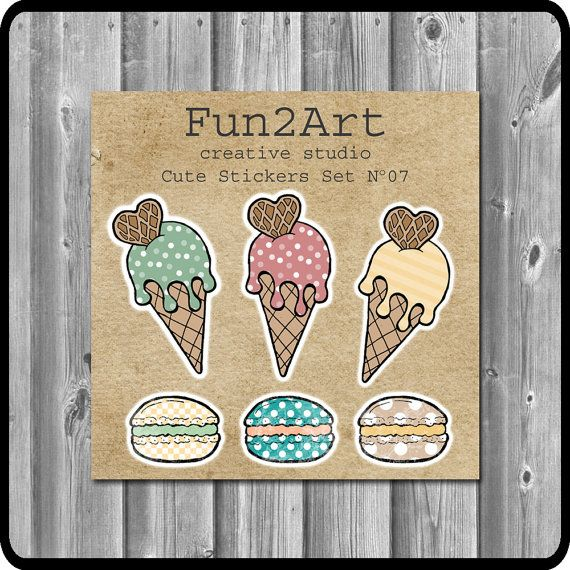 Cute Stickers/ Planner Stickers/ Ice Cream & Macaroons by Fun2Art