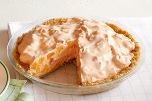 peaches n cream pie  (i would use peach jello and just put it in ramekins.  i don't like pie crust)