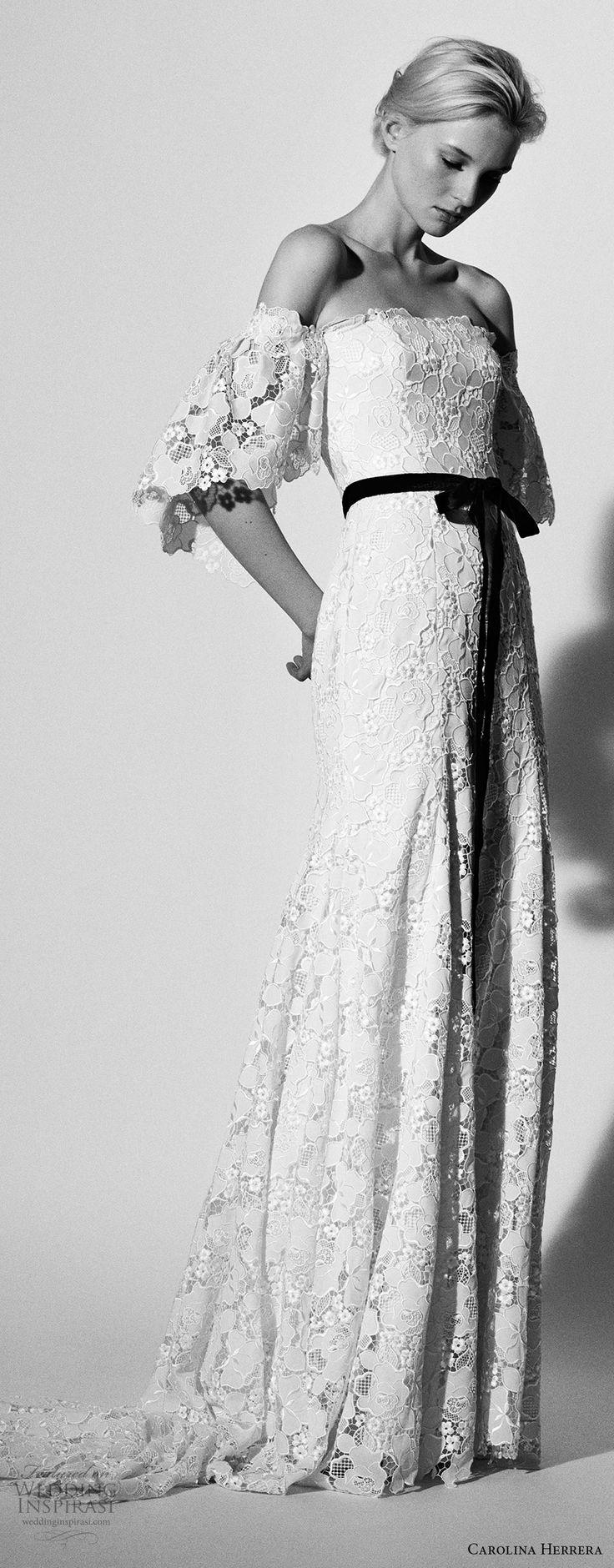 carolina herrera spring 2018 bridal off the shoulder half flounce sleeves straight across neckline full embellishment elegant sheath wedding dress sweep train (13) mv -- Carolina Herrera Bridal Spring 2018 Wedding Dresses