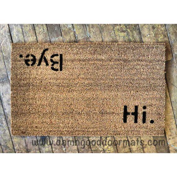 Block letters Hi Bye doormat