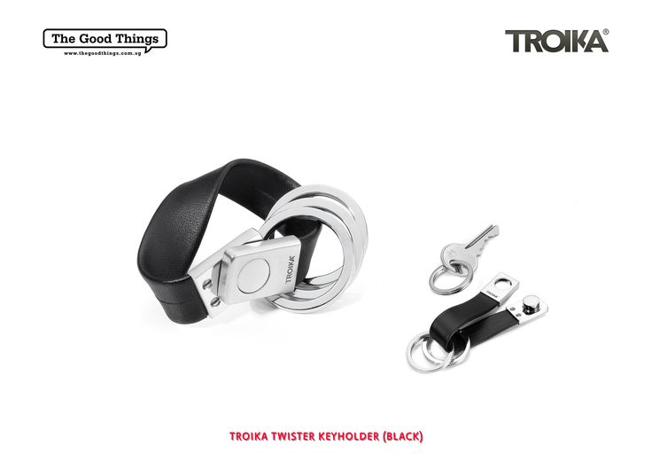 TROIKA TWISTER KEYHOLDER.    Simplicity is the key. Insert, twist, secure!   The TWISTER keyring is a real turn-up for the books. The metal twist lock secures the keys on their leather strap. The TWISTER KEYHOLDER combines timeless design with a clever idea.   Simply ingenious!   #tgt #thegoodthings #troika