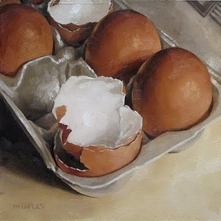 "'Cracked' By Michael Naples Medium: Oil Paint on 1/4"" Board Size: Approx 6""x6"" I like the idea of looking at openings within everyday items"