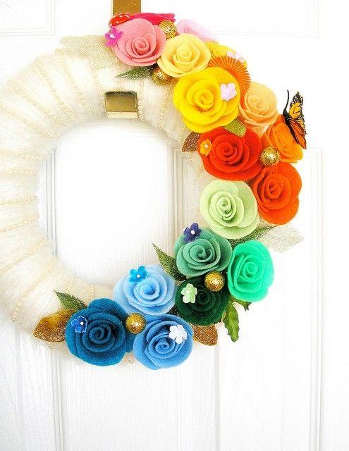 Rainbow Felt Yarn Wreath by Nanette Jean