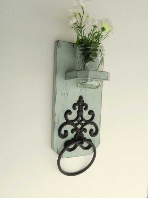 cottage styled wooden antiqued towel holder  shabby chic french country bathroom decorating ideas french country bathroom wall decor