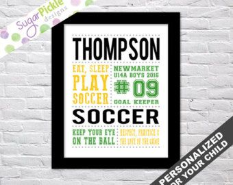 Soccer Print, Soccer art, Soccer Subway Art, Soccer Stats Art, Soccer Wall Art, Soccer printables, Team Gift, Personalized, by sugarpickledesigns. Explore more products on http://sugarpickledesigns.etsy.com