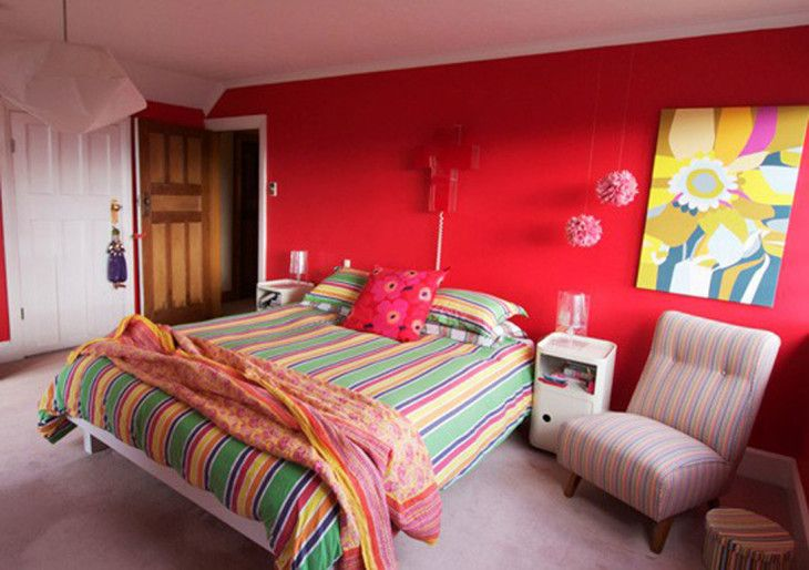 Cheerful Bedroom Design Ideas With Red Wall Paint Color And Contemporary Wall Picture Aside - pictures, photos, images