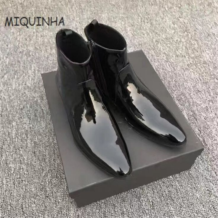 New Designer Side Zipper Chelsea Ankle Boots Pointed Toe Bota Masculina Shoes Men Boots Sapato Masculino Erkek Bot Botas Hombre